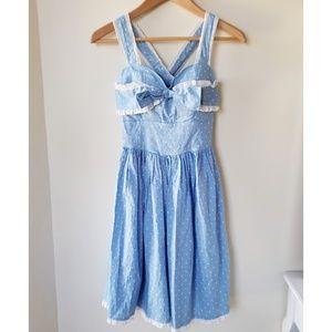 Hell Bunny Polka Dot and Lace Retro Bow Dress